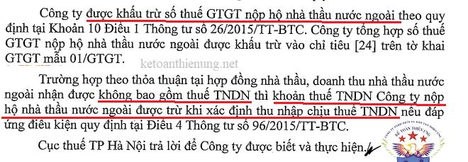 Thuế GTGT nộp thay nhà thầu có được khấu trừ