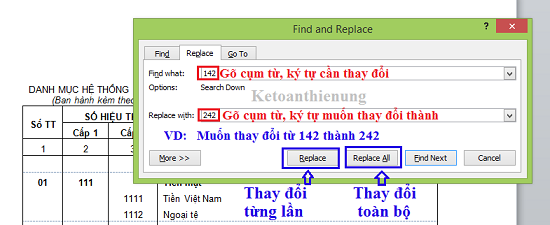 thay thế cụm trừ trong word