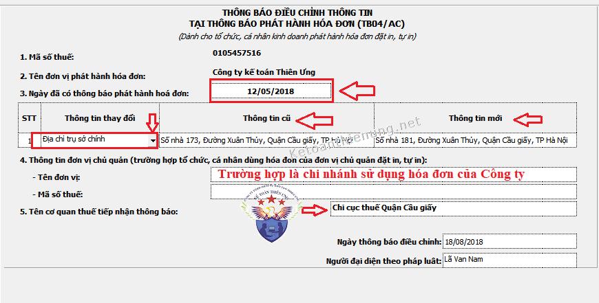 Cách làm thông báo điều chỉnh thông tin hóa đơn