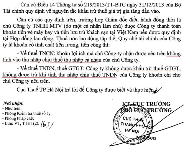 chi phí công tác của giám đốc công ty tnhh mtv