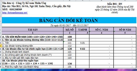 Mẫu bảng cân đối kế toán Excel theo Thông tư 200
