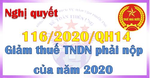 Nghị quyết 116 giảm thuế tndn phải nộp năm 2020
