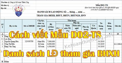 Cách lập Mẫu D02-TS Danh sách tham gia BHXH theo QĐ 595