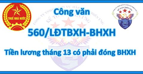 Công văn 560/LĐTBXH-BHXH Tiền thưởng lương tháng 13 có phải đóng BHXH?