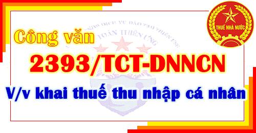 Công văn 2393/TCT-DNNCN khai thuế thu nhập cá nhân