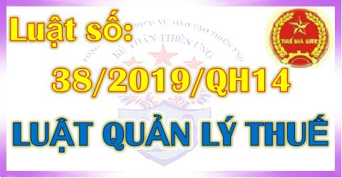 Luật Quản lý thuế số 38/2019/QH14 mới nhất