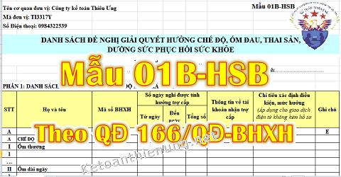 Mẫu 01B-HSB Excel theo Quyết định 166/QĐ-BHXH mới nhất 2019