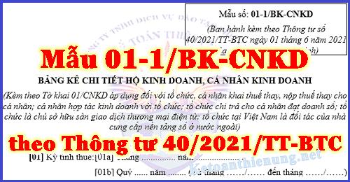 Mẫu 01-1/BK-CNKD Bảng kê hộ kinh doanh theo Thông tư 40