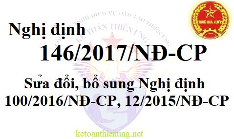 Nghị định 146/2017/NĐ-CP Sửa đổi bổ sung Luật thuế GTGT, TNDN