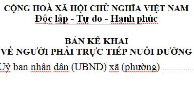 Mẫu bản kê khai người phải trực tiếp nuôi dưỡng 21b/XN-TNCN