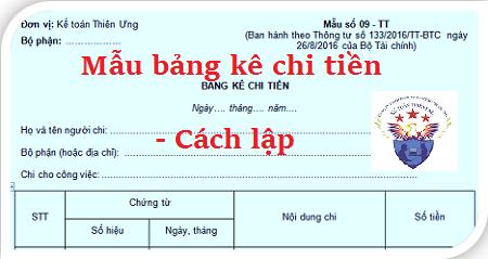 Mẫu Bảng kê chi tiền 09-TT theo Thông tư 133 và 200