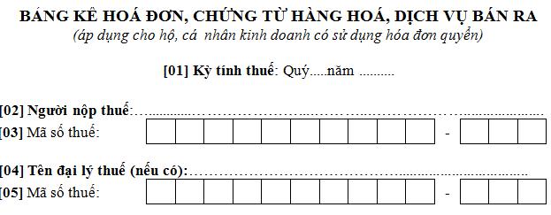 Mẫu bảng kê hóa đơn chứng từ hàng hóa dịch vụ bán ra mẫu số 03/THKH