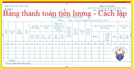 Mẫu Bảng thanh toán tiền lương theo Thông tư 133 và 200