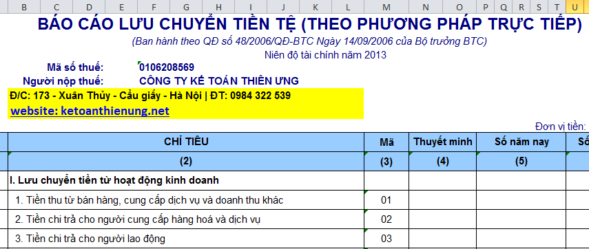 Mẫu báo cáo lưu chuyển tiền tệ trực tiếp theo TT 200 và QĐ 48