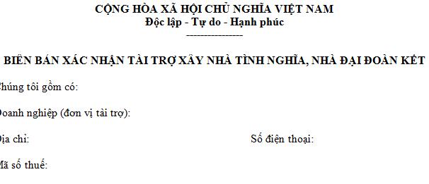 Biên bản xác nhận tài trợ xây nhà tình nghĩa, nhà đại đoàn kết mẫu 06/TNDN