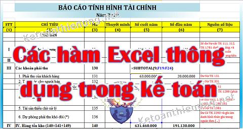 Các hàm Excel trong kế toán thường dùng