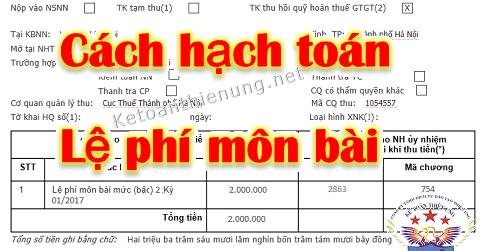 Cách hạch toán tiền lệ phí môn bài phải nộp