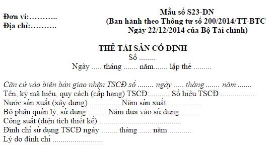 Cách lập thẻ tài sản cố định mẫu S23-DN theo TT 200