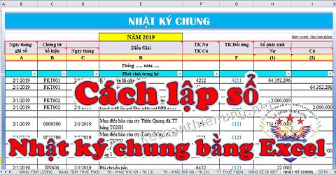 Cách lập sổ nhật ký chung trên Excel chi tiết
