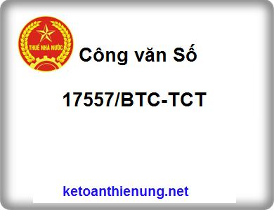 Công văn Số 17557/BTC-TCT triển khai thực hiện luật thuế GTGT