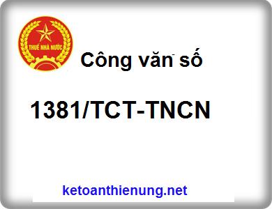 Công văn số 1381/TCT-TNCN Các khoản phụ cấp, trợ cấp để tính thuế TNCN