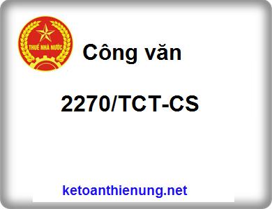 Công văn 2270/TCT-CS tiền thuê nhà của cá nhân là chi phí hợp lý