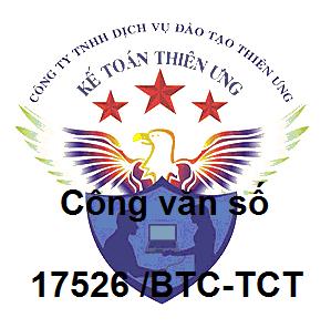 Công văn số 17526/BTC-TCT Luật sửa đổi, bổ sung các luật về thuế