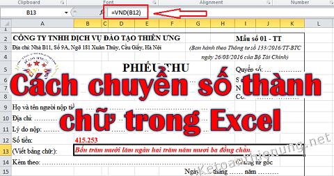 Hướng dẫn chuyển số thành chữ trong Excel 2003, 2007, 2010, 2013