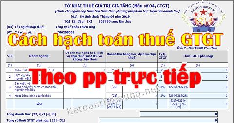 Hạch toán thuế GTGT theo phương pháp trực tiếp trên doanh thu