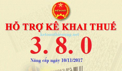 Phần mềm HTKK 3.8.0 mới nhất ngày 10/11/2017