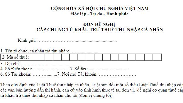 Mẫu 07/CTKT-TNCN Đơn đề nghị cấp chứng từ khấu trừ thuế TNCN theo TT 92