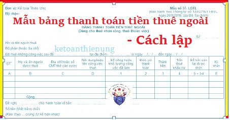 Mẫu Bảng thanh toán tiền thuê ngoài theo Thông tư 133 và 200