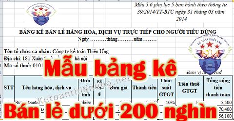 Mẫu bảng kê bán hàng cho khách lẻ dưới 200 nghìn file Excel