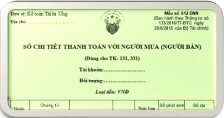 Mẫu Sổ chi tiết thanh toán với người mua - bán theo TT  133 và 200