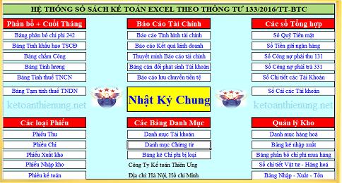 Mẫu sổ sách kế toán Excel theo Thông tư 133 và 200