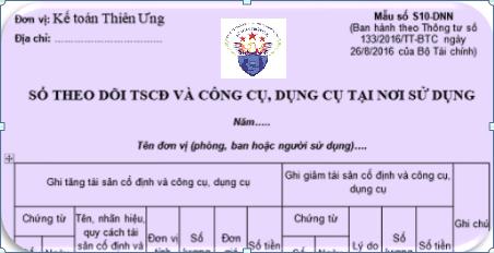 Mẫu Sổ theo dõi TSCĐ - CCDC tại nơi sử dụng theo TT 133 và 200