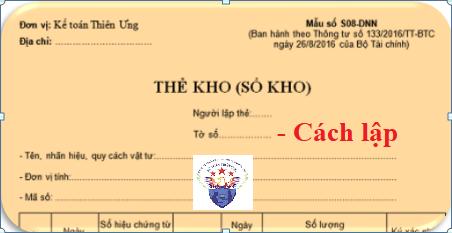 Mẫu Thẻ kho (Sổ kho) theo Thông tư 133 và 200