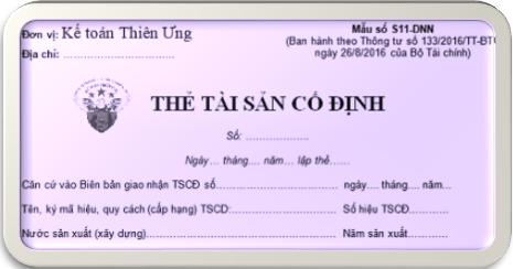 Mẫu Thẻ Tải sản cố định theo Thông tư 133 và 200