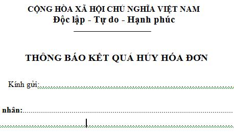Mẫu Thông báo kết quả hủy hóa đơn theo Thông tư 39