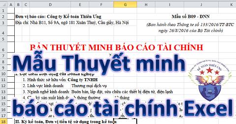Mẫu Thuyết minh Báo cáo tài chính Excel theo TT 200 và 133