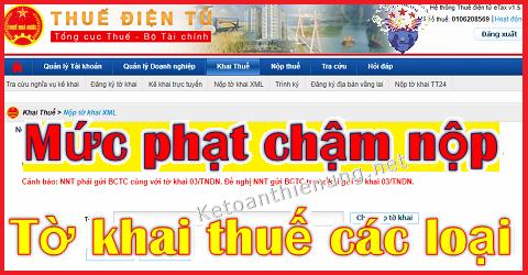 Mức phạt nộp chậm tờ khai thuế GTGT, TNCN, TNDN, Môn bài