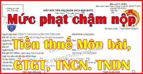 Mức phạt chậm nộp tiền thuế GTGT, TNCN, TNDN, Môn bài