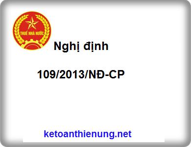 Nghị định 109/2013/NĐ-CP Xử phạt vi phạm hành chính về hóa đơn, phí, lệ phí