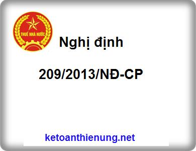 Nghị định 209/2013/NĐ-CP Quy định chi tiết và hướng dẫn luật thuế GTGT