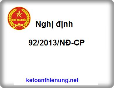 Nghị định 92/2013/NĐ-CP sửa đổi, bổ sung luật thuế TNDN, GTGT