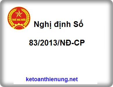 Nghị định Số 83/2013/NĐ-CP quy định luật quản lý Thuế