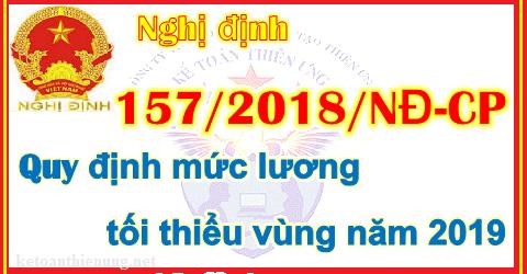 Nghị định 157/2018/NĐ-CP Quy định mức lương tối thiểu vùng 2019