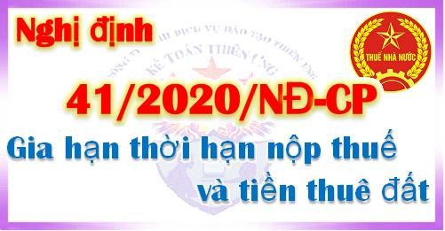 Nghị định 41/2020/NĐ-CP gia hạn thời hạn nộp thuế và tiền thuê đất