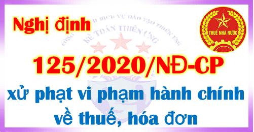 Nghị định 125/2020/NĐ-CP Xử phạt vi phạm về thuế, hóa đơn