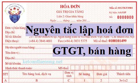 Nguyên tắc lập hóa đơn GTGT mới nhất